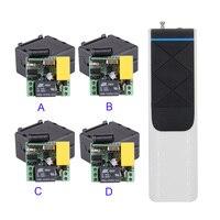 4PCS 4CH AC 220VWireless Remote Control Switch Light LED Mini Size Light Switch System 3000M Long Range 4 Button Transmitter