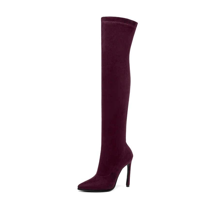 QUTAA 2020 hiver sur le genou femmes bottes Stretch tissus haut talon sans lacet chaussures bout pointu femme bottes longues taille 34-43