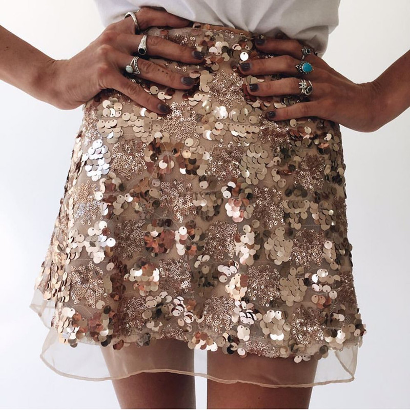 Women Mesh Sequin Skirts 2019 Spring Summer New Sexy Casual Slim A-line Skirt Club Party Fashion High Waist Patchwork Mini Skirt