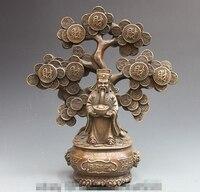 Çin Bakır Bronz Pachira Ağacı servet tanrısı Halk Feng Shui Buda Heykeli|Statü ve Heykelleri|Ev ve Bahçe -