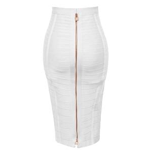 Image 3 - Free Shipping Plus Size XL XXL Summer Fashion Sexy Zipper Bandage Skirt 2019 Designer A Line Pencil Skirt Faldas 58cm