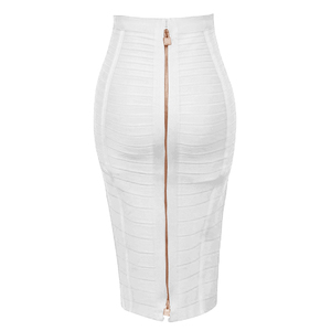 Image 3 - شحن مجاني زائد حجم XL XXL الصيف أزياء مثير سستة ضمادة تنورة 2019 مصمم خط تنّورة مجسّمة Faldas 58 سنتيمتر