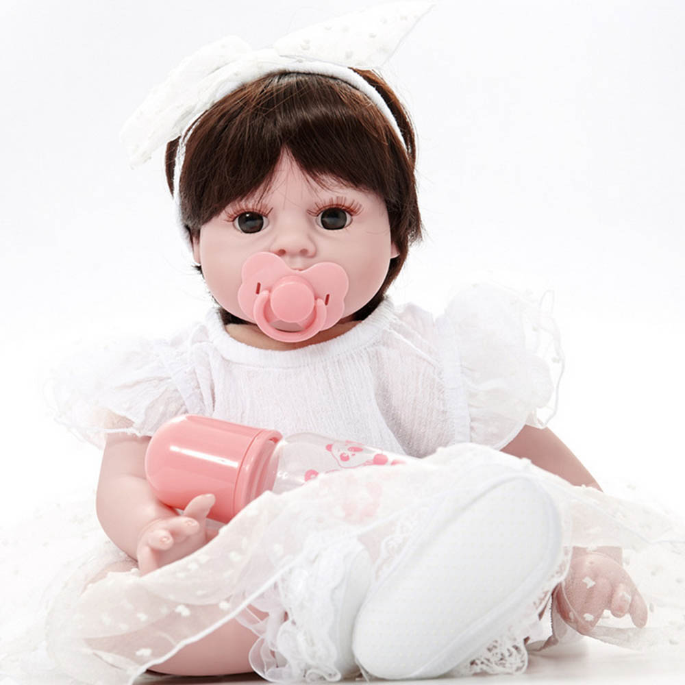 20 inches Silicone Soft Realistic Reborn Baby Doll 50cm Lifelike Girl Newborn Babies with Cloth Body Toy Kids Birthday Xmas Gift 22 inches soft silicone reborn baby dolls cloth body real looking newborn alive girl babies boneca toy kids birthday xmas gift
