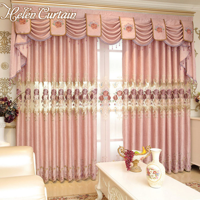 Helen Curtain Luxury European Embroidered Pink Flower Curtains for ...