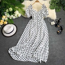 2019 Women Vintage Polka Dot Dress Summer V Neck Short Sleeve Close Waist Thin Casual Elegant Vestidos Ins
