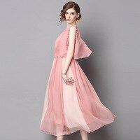 L G Novelty Light Mature Dress 2017 Summer Fashion Pink Khaki Half Sleeve Strapless Patchwork Buttons