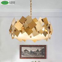 Post Modern Stainless Steel Acrylic Chandeliers Creative Flexible Gold Led E14 Drop Light For Living Room
