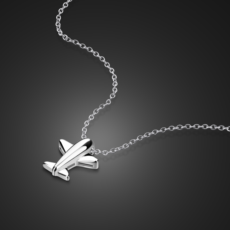 New fashion airplane pendant silver chain Clavicle Short Necklace 100% 925 Sterling Silver Necklace For Women Creative jewelry image