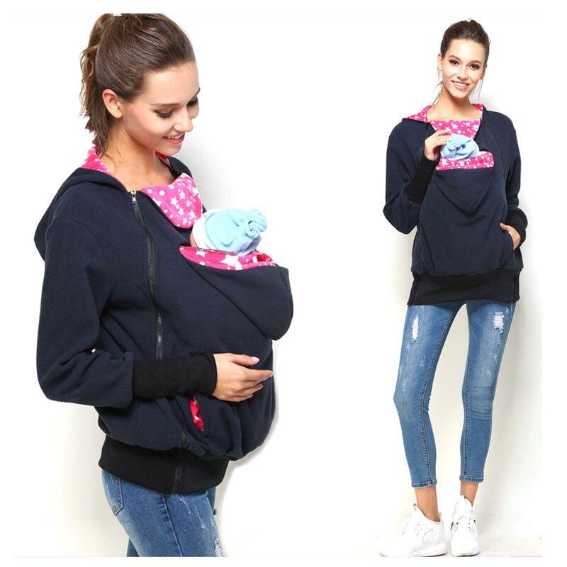 European Style Women Mother Winter Kangaroo Hoodie Sling Baby Wrap Baby Carrier Coat Backpack Newborn Carrier Sling Bag S~XL