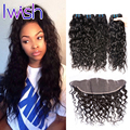 Iwish 7A Grade Malaysian Water Wave Virgin Hair With Frontal Closure Malaysian Human Hair With Frontal Virgin Hair Bundle Deals