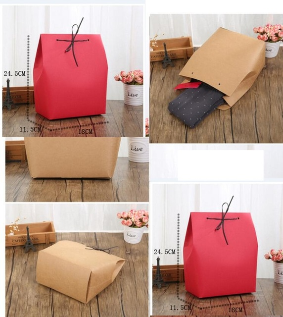 Large Kraft Paper Wedding Favors Gift Packaging Box Party Bag Red White Birthday Packing