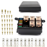New 12 Slot Fuse Relay Box with 12V 40A Relay Fuses for Automotive Marine