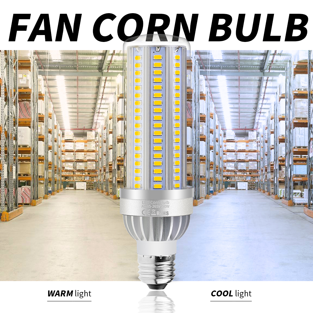 10W 25W 35W 50W E27 LED Fan Corn Lamp E26 LED Bulb 110V 220V 5730SMD LED Light 105 129 153leds NO Flicker More Bright AC85-265V