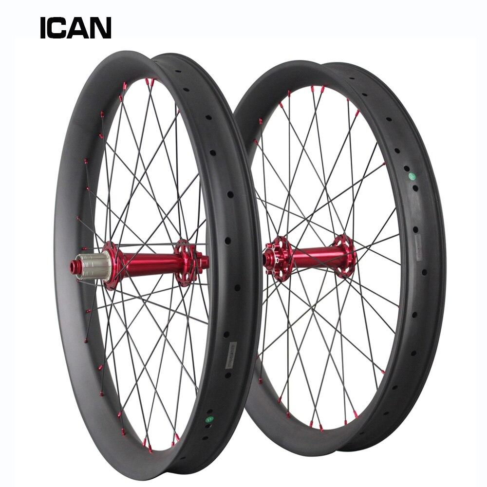 2018 углерода жира велосипед колеса 26er ICAN фэт байке колеса снег пляжные колесная 65 мм довод hookless бескамерные FW65
