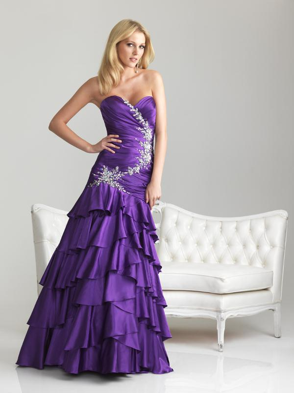 Free Shipping Ed 1366 Tiered Ruffled Satin Fabric Evening Dress Patterns Birthday Party In Dresses From