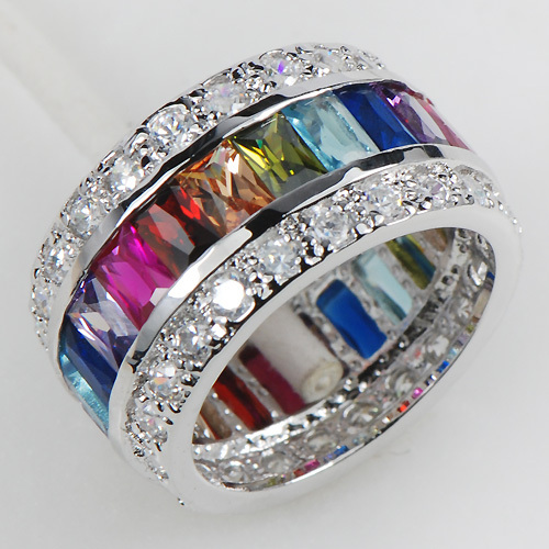Morganite Blue Created Garnet Pink Crystal Zircon Women 925 Sterling Silver Ring KR07 Size 6 7 8 9 10 11 12