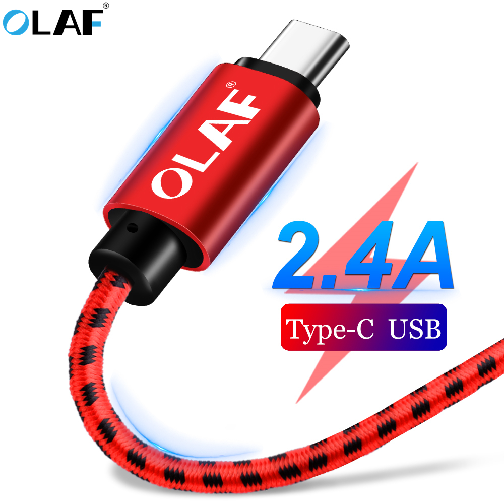 OLAF Nylon Braided 2.4A Type C Micro USB Fast Charging Cable For Samsung S7 S8 S9 Plus Note 8 9 Huawei Xiaomi Mi8 USB-C Cable