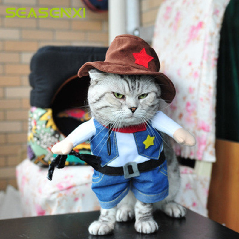 Funny Dog Cats Coats Costume Cowboy Cosplay Suit For Christmas Uniform Clothes Puppy Hat Suit Dressing Up Party Pet Colothes