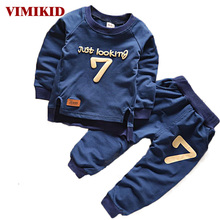 VIMIKID 2017 Baby Boys Clothing Set Casual Sport Letters Tracksuit Infant Toddler Girls ClothesTshirt + Pants Children Suits