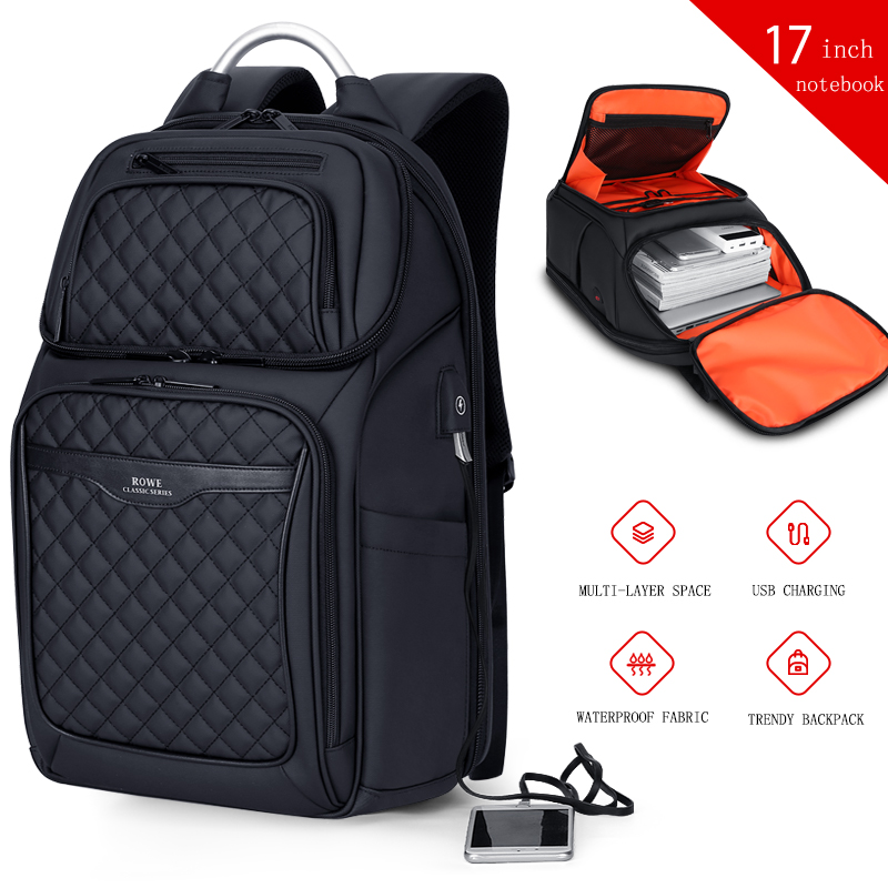 Image 5 - FRN Business USB Charging Bag Men 17 inch Laptop Backpack Waterproof High Capacity Mochila Antitheft Casual Travel Backpack Bag-in Backpacks from Luggage & Bags