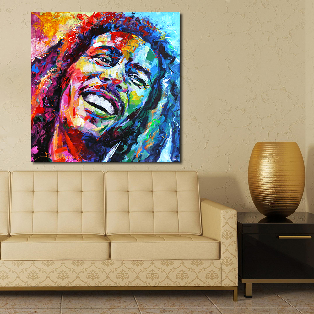 JQHYART Bob Marley Portrait Oil Painting Acrylic On Canvas Art Prints For Living Room Home Decoration No Framed
