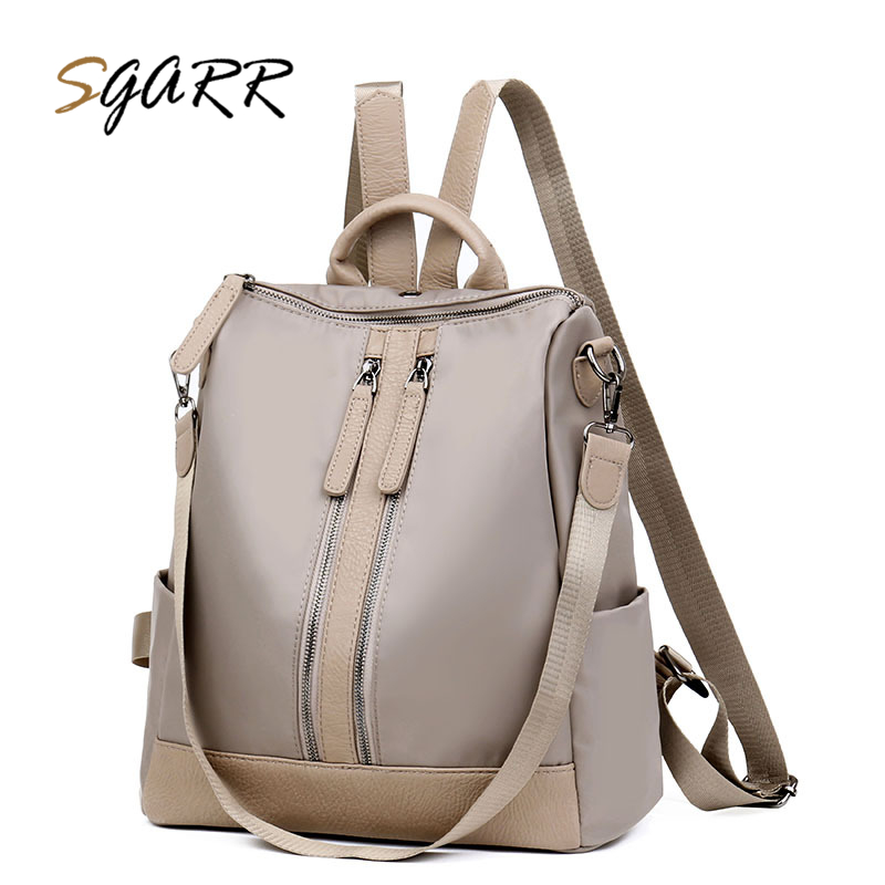 SGARR Women Backpack Nylon Fashion Waterproof School Bag For Teenage Girls Large Capacity Travel Backpacks With Earphone Hole jmd backpacks for teenage girls women leather with headphone jack backpack school bag casual large capacity vintage laptop bag