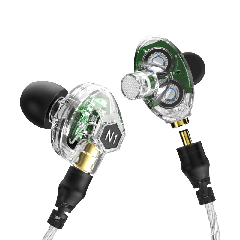 Brand New Original VJJB N1 In Ear Earphone Deep Bass In-ear Headphone Earbud Replaceable cable With Microphone Double Drive Unit original senfer dt2 ie800 dynamic with 2ba hybrid drive in ear earphone ceramic hifi earphone earbuds with mmcx interface