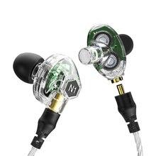 Brand New Original VJJB N1 En la Oreja los Auriculares Graves Profundos En La Oreja Los Auriculares Auricular Reemplazable cable Con Micrófono Doble Unidad de Accionamiento
