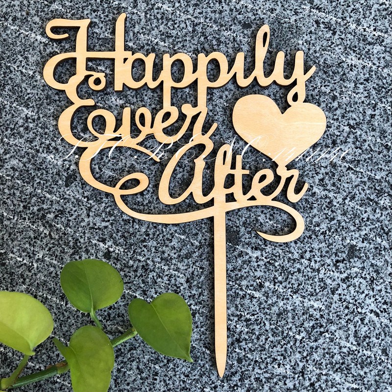 Wood Rustic Wedding Cake Topper Happily Ever After  Topper for Wedding /Brithday / Anniversary Party Cake Accessory Decoration