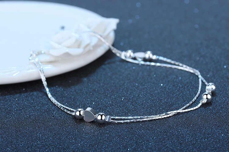 Kobiet dwa warstwy polski serce koralik urok 925 srebro bransoletki na nogę łańcuszek na nogę biżuteria letnia kostki bransoletki hurtownie