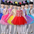 For 3-15 Y New 2017 Sequins Baby Girl Princess Party Dresses Dance Costumes Performing Veil Tutu Dress for Girls Vestidos GDR186