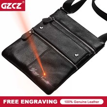 GZCZ 2018 Brand Genuine Leather Men Bag Casual Business Leat