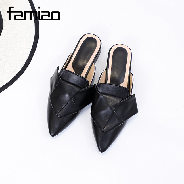 e01467948 plus size Summer Elegant Mules Shoes Slides brand Outdoor Slipper low Heel  Platform Flip Flops black Pointed toe Shoes Sandals