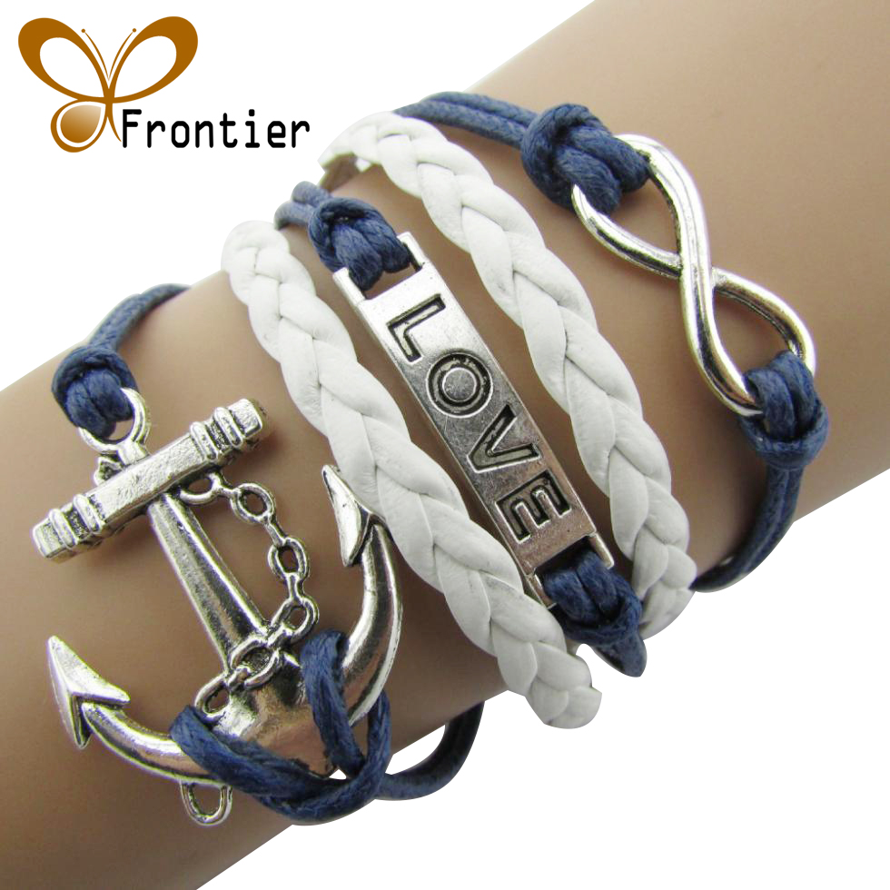 2016  Charm  Vintage Anchor Rudder 8  Bronze Wax Cords  Multilayer Braided Bracelets For Women  B5 B103