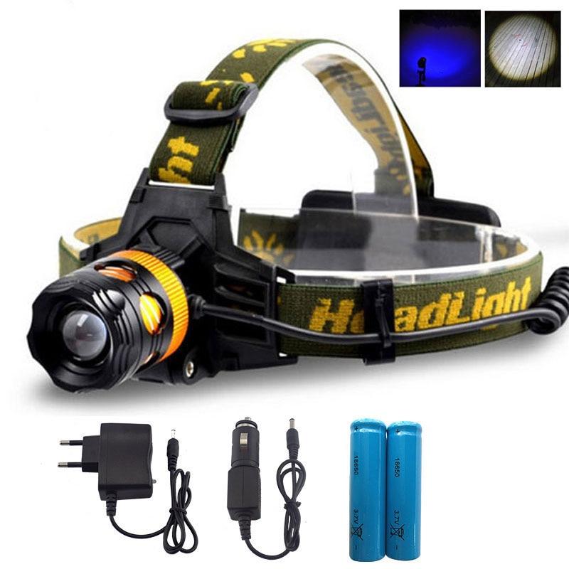 Luz de cabeza LED a prueba de agua Faro 2 LEDs Linterna LED azul / amarillo Linterna de pesca Antorcha Lámpara de cabeza + Cargador + 18650 Batería