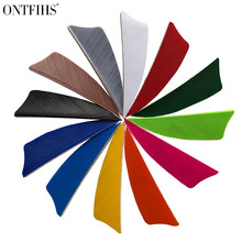ONTFIHS New 50PCS 2 Shield Archery Fletches Arrow Feather Fletching Turkey RW