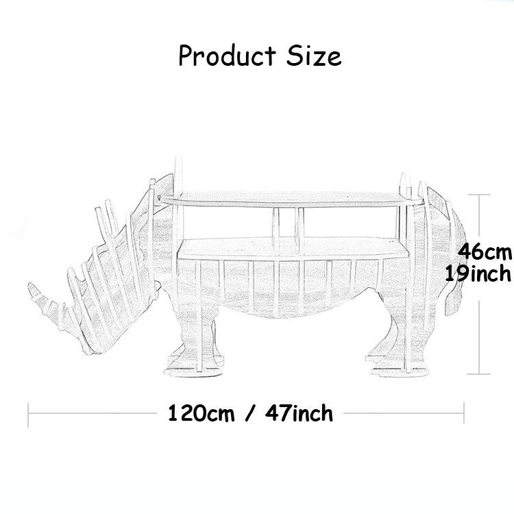 1 ensemble 47*19 pouces MDF bricolage assembler en bois rhinocéros Table bibliothèque armoire maison meubles - 6