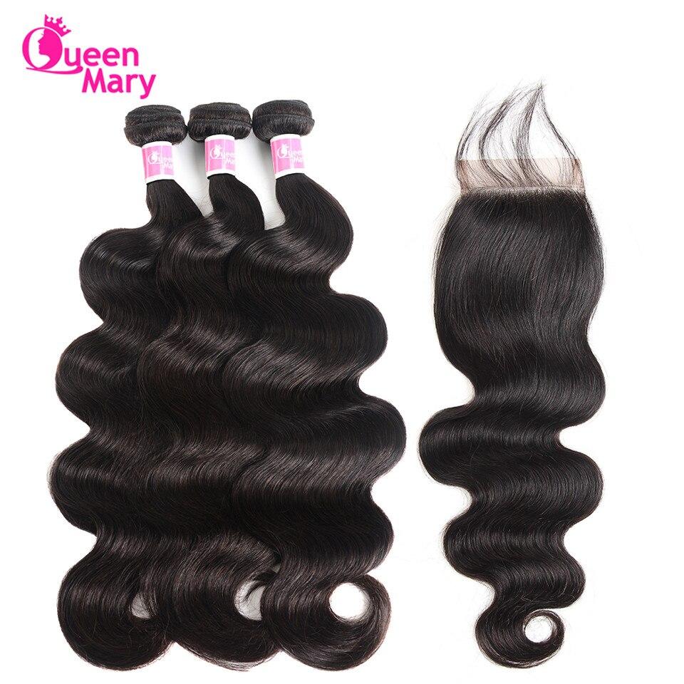 Hair-Bundles Closure 100%Human-Hair Queen Mary Peruvian with Non-Remy