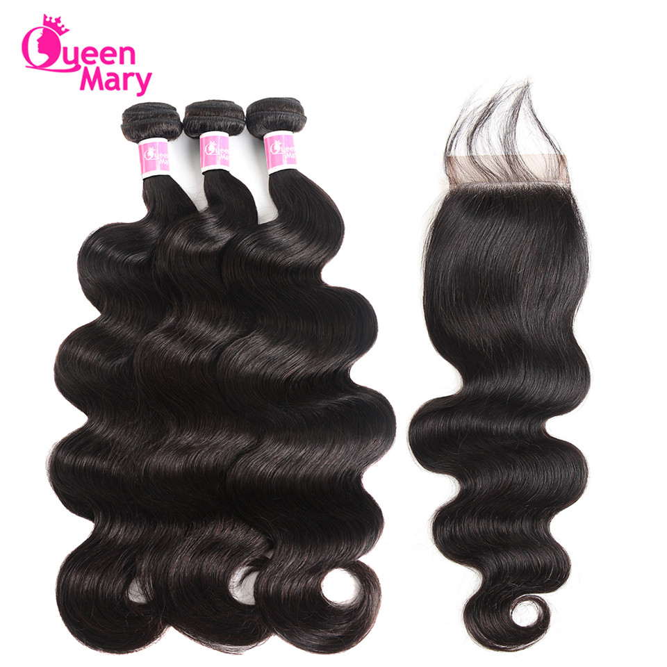Peruvian Body Wave Bundlar Med Closed Peruvian Hair Bundles With - Mänskligt hår (svart)