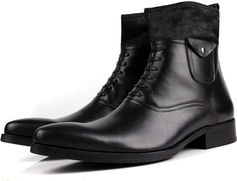 Moda Dos De Inverno Couro Motocicleta Crina Homens Mens Genuíno Ankle Sapatos Botas Boots Preta vvHwrB