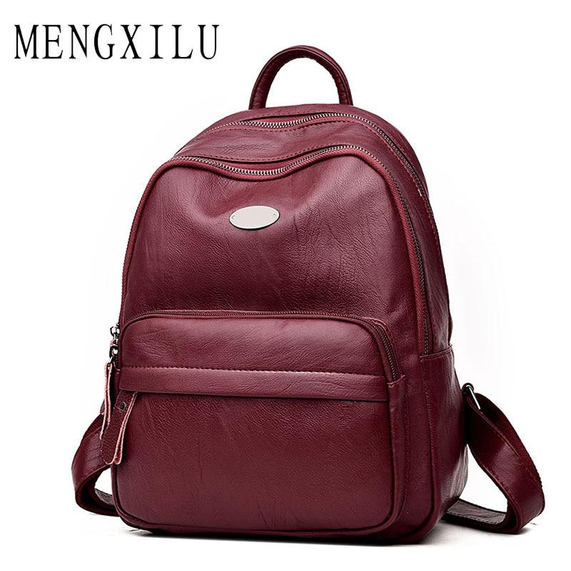 2017 Women Backpacks High Quality Women s Leather Backpacks Female School Shoulder bags Teenage Girls College