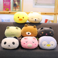 anime animal bolster short plush pillow keep hand warm bear kids gift toys for children gift bear pig cat duck panda rabbit