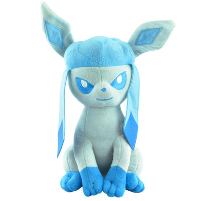 Big Size 35cm Glaceon Eevee Plush Toys Doll Sitting Pokemon Glaceon Plush Toy Soft Stuffed Animals Toys Gift for Children Kids