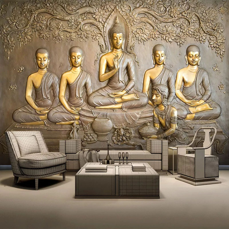 Custom Photo Wallpaper Wall Murals 3D Golden Buddha Statue Wall Painting Living Room Study Room Background Decor Papel De Parede