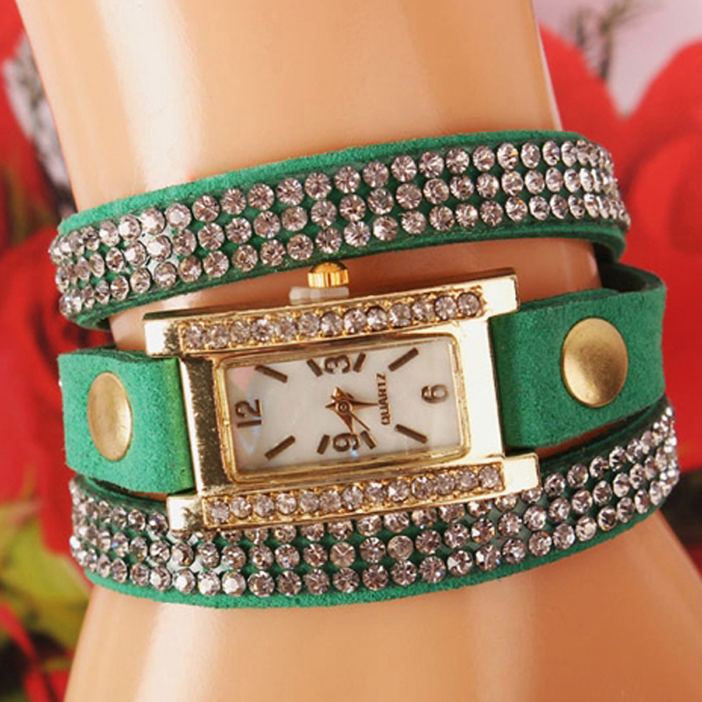 6 Colors Fashion Rhinestone Women Jewelry Watch Vintage Squa