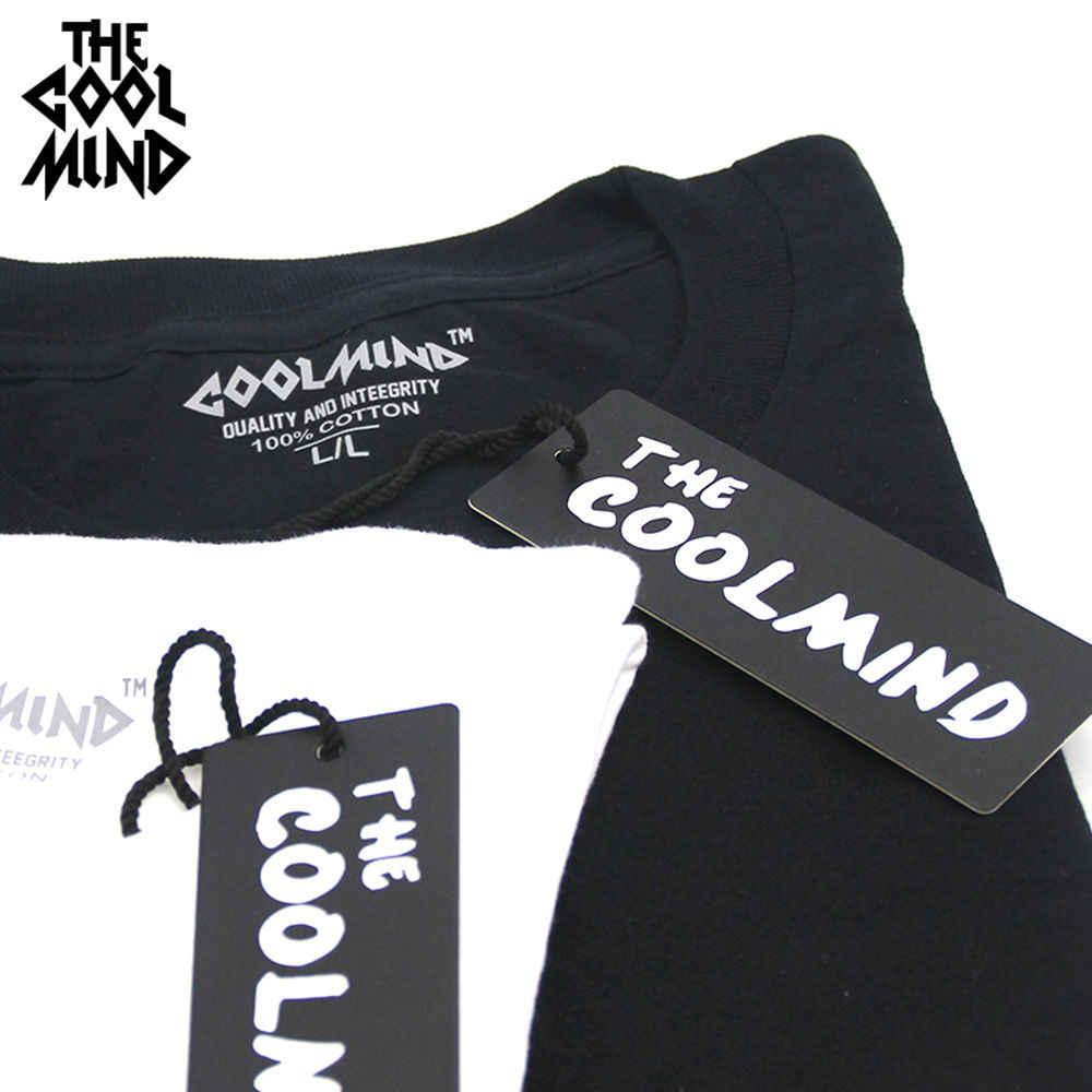 COOLMIND QI0222A % 100% pamuk kısa kollu matematik baskılı erkek T shirt casual o-boyun yaz sokak stili serin komik bol tişört
