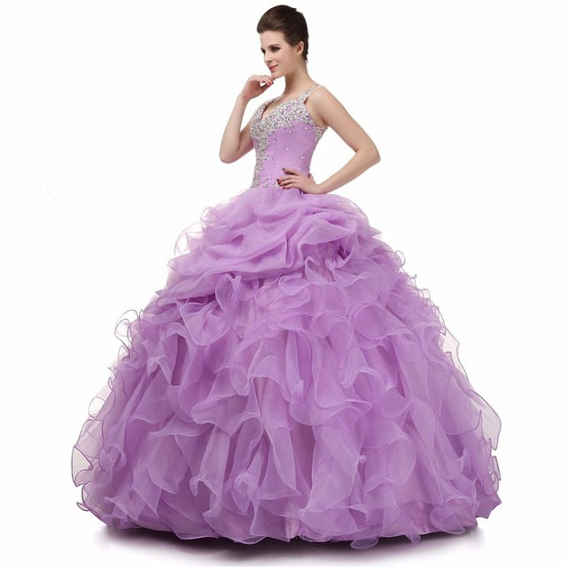 ee9a56b855 US $182.45 45% OFF|2018 Backlackgirl Elegant Original Photo Ruffles  Quinceanera Dresses New V Neck Beaded Organza Long Formal Party Gowns Plus  Size-in ...