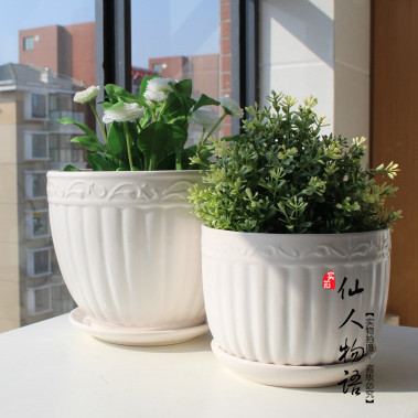 Ceramic POTS Indoor potted flower POTS/personality with tray concise ...