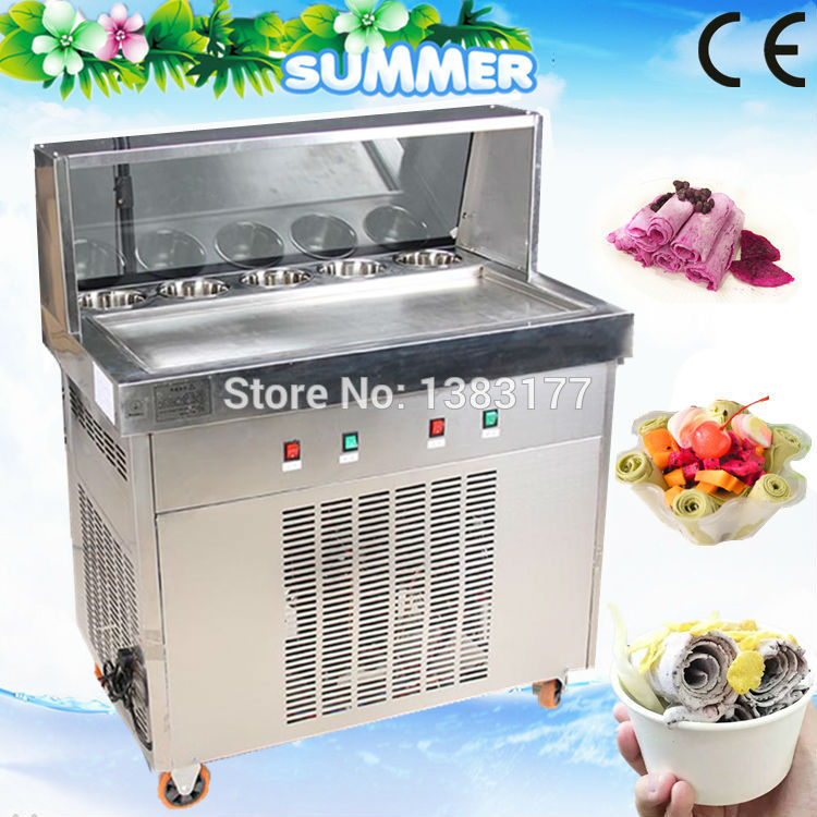 18 CE 70CM single pan with 5 cooling buckets fried ice cream roll machine thai ice pan machine ice slush machine for sale free air ship to your home ce r410 single pan 304 stainless steel fried ice cream roll machine fried thai ice machine for sale