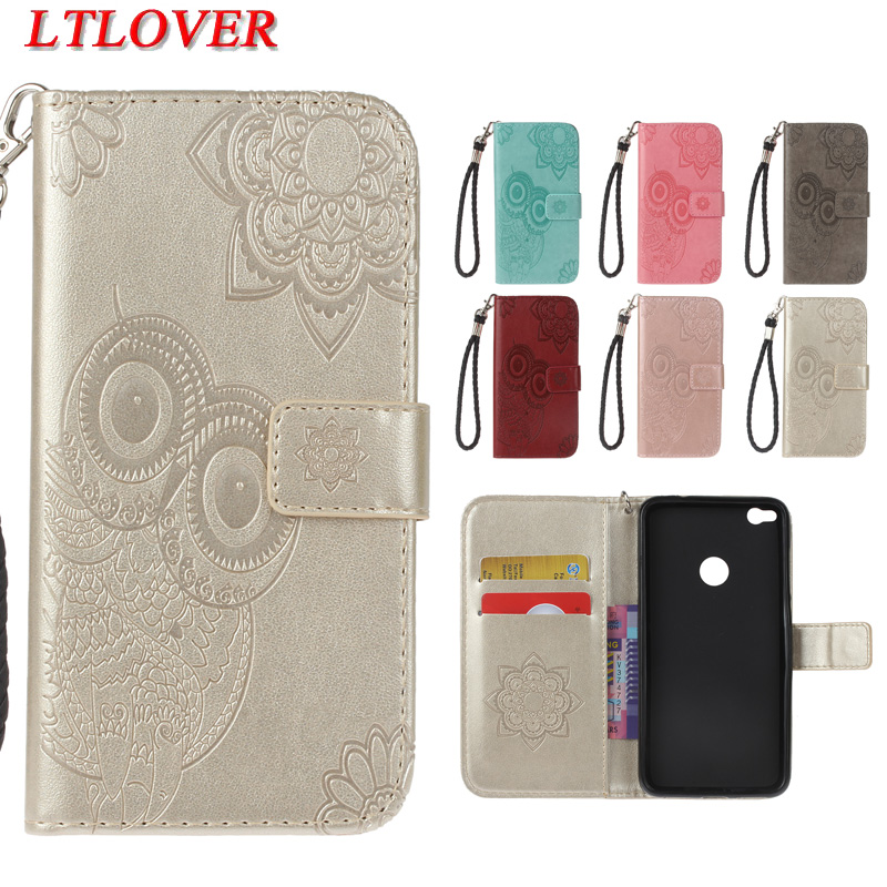 High quality owl embossed fashion Anti knock pu leather phone case For Huawei P8 Lite 2017 wallet stand Hand rope cover